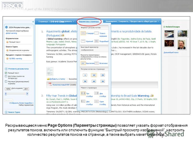 Раскрывающееся меню Page Options (Параметры страницы) позволяет указать формат отображения результатов поиска, включить или отключить функцию Быстрый просмотр изображений, настроить количество результатов поиска на странице, а также выбрать макет стр