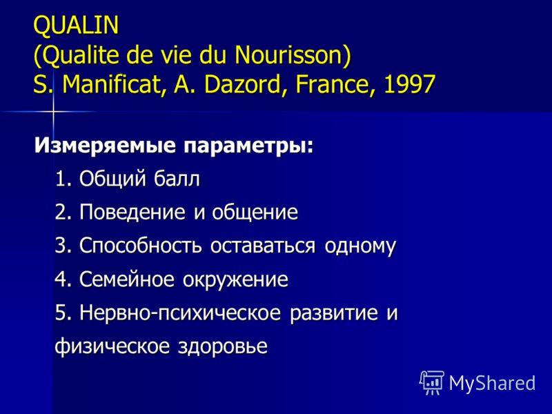 QUALIN (Qualite de vie du Nourisson) S. Manificat, A. Dazord, France, 1997 Измеряемые параметры: 1. Общий балл 2. Поведение и общение 3. Способность оставаться одному 4. Семейное окружение 5. Нервно-психическое развитие и физическое здоровье