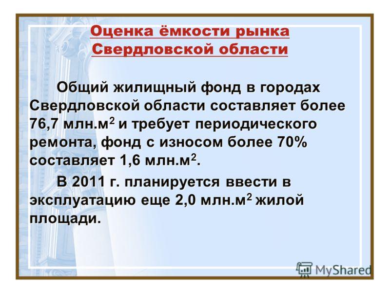 Оценка ёмкости рынка Свердловской области Общий жилищный фонд в городах Свердловской области составляет более 76,7 млн.м 2 и требует периодического ремонта, фонд с износом более 70% составляет 1,6 млн.м 2. Общий жилищный фонд в городах Свердловской о