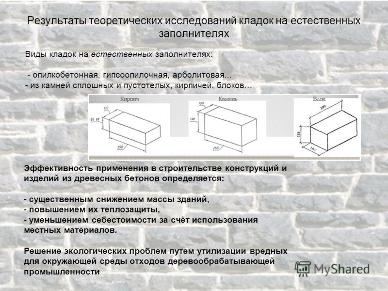 Виды кладок на естественных заполнителях: - опилкобетонная, гипсоопилочная, арболитовая... - из камней сплошных и пустотелых, кирпичей, блоков… Эффективность применения в строительстве конструкций и изделий из древесных бетонов определяется: - сущест