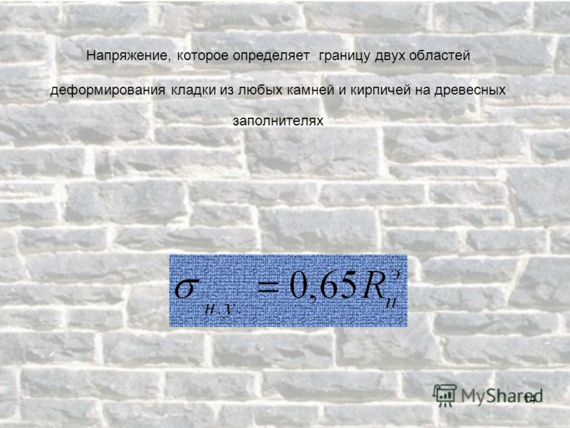 Напряжение, которое определяет границу двух областей деформирования кладки из любых камней и кирпичей на древесных заполнителях 14