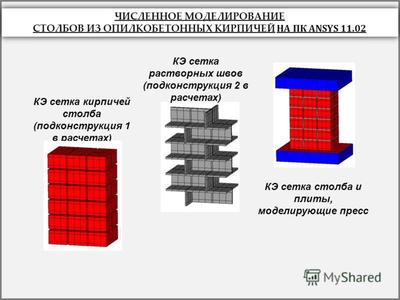 в) КЭ сетка кирпичей столба (подконструкция 1 в расчетах) КЭ сетка растворных швов (подконструкция 2 в расчетах) КЭ сетка столба и плиты, моделирующие пресс ЧИСЛЕННОЕ МОДЕЛИРОВАНИЕ СТОЛБОВ ИЗ ОПИЛКОБЕТОННЫХ КИРПИЧЕЙ НА ПК ANSYS 11.02 ЧИСЛЕННОЕ МОДЕЛИ