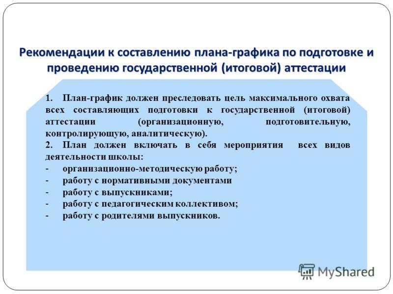Рекомендации к составлению плана-графика по подготовке и проведению государственной (итоговой) аттестации 1.План-график должен преследовать цель максимального охвата всех составляющих подготовки к государственной (итоговой) аттестации (организационну