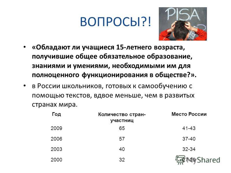 ВОПРОСЫ?! «Обладают ли учащиеся 15-летнего возраста, получившие общее обязательное образование, знаниями и умениями, необходимыми им для полноценного функционирования в обществе?». в России школьников, готовых к самообучению с помощью текстов, вдвое
