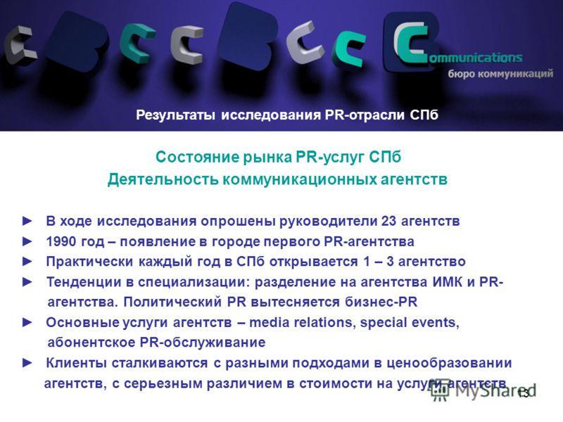13 Результаты исследования PR-отрасли СПб Состояние рынка PR-услуг СПб Деятельность коммуникационных агентств В ходе исследования опрошены руководители 23 агентств 1990 год – появление в городе первого PR-агентства Практически каждый год в СПб открыв