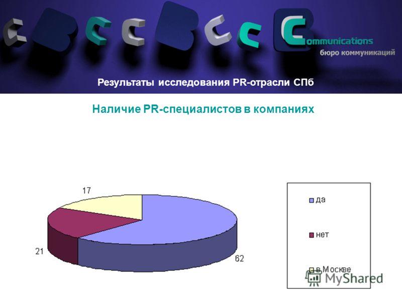 8 Наличие PR-специалистов в компаниях Результаты исследования PR-отрасли СПб