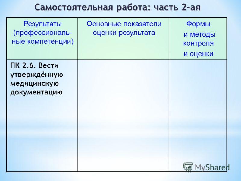 Самостоятельная работа: часть 2–ая Результаты (профессиональ- ные компетенции) Основные показатели оценки результата Формы и методы контроля и оценки ПК 2.6. Вести утверждённую медицинскую документацию