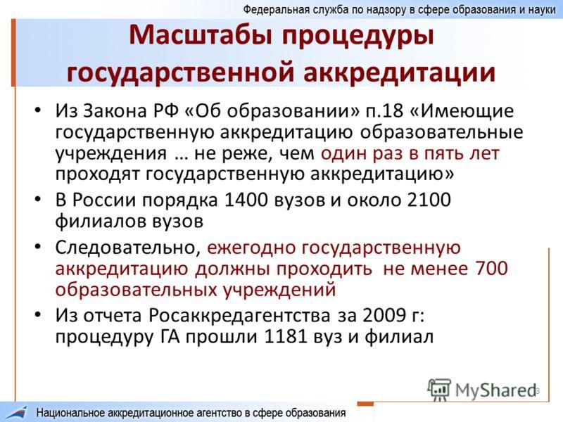 3 Масштабы процедуры государственной аккредитации Из Закона РФ «Об образовании» п.18 «Имеющие государственную аккредитацию образовательные учреждения … не реже, чем один раз в пять лет проходят государственную аккредитацию» В России порядка 1400 вузо