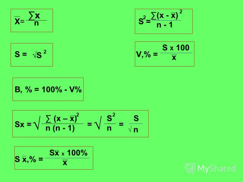 Х= S = S =V,% = В, % = 100% - V% Sx = = = S x,% = х n 2 (х - х) 2 n - 1 S 2 S х 100 х (х – х) 2 n (n - 1) S n 2 S n Sx x 100% x