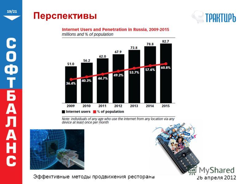 19/21 Эффективные методы продвижения ресторана Перспективы 26 апреля 2012