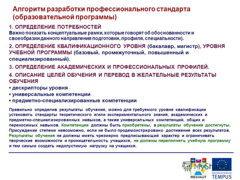 Алгоритм разработки профессионального стандарта (образовательной программы) 1. ОПРЕДЕЛЕНИЕ ПОТРЕБНОСТЕЙ Важно показать концептуальные рамки, которые говорят об обоснованности и своеобразии данного направления подготовки, профиля, специальности). 2. О