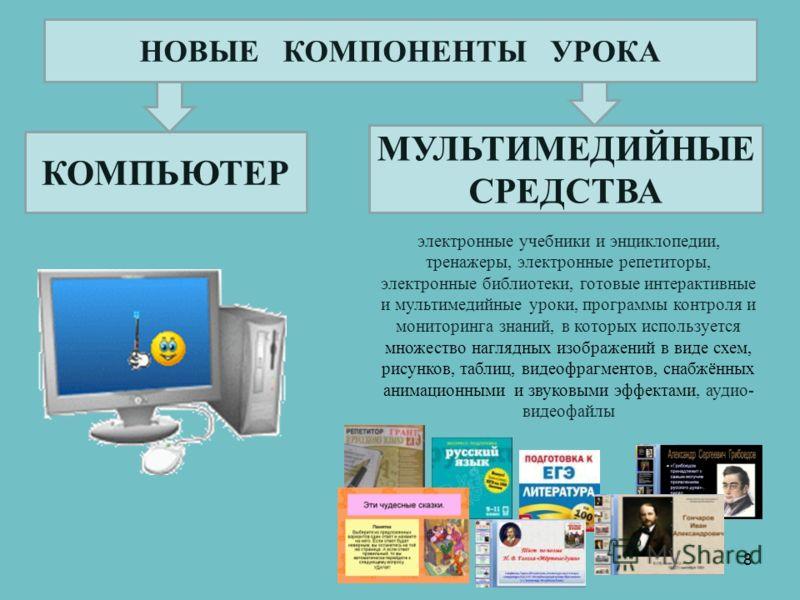 КОМПЬЮТЕР МУЛЬТИМЕДИЙНЫЕ СРЕДСТВА 8 электронные учебники и энциклопедии, тренажеры, электронные репетиторы, электронные библиотеки, готовые интерактивные и мультимедийные уроки, программы контроля и мониторинга знаний, в которых используется множеств