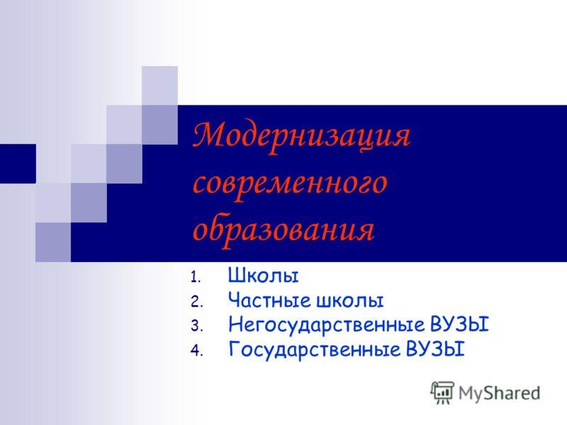 Модернизация современного образования 1. Школы 2. Частные школы 3. Негосударственные ВУЗЫ 4. Государственные ВУЗЫ