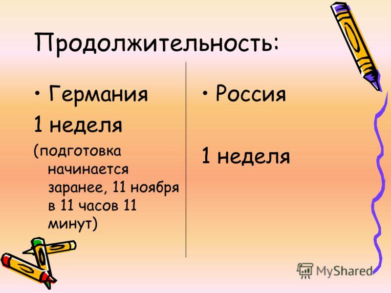 Продолжительность: Германия 1 неделя (подготовка начинается заранее, 11 ноября в 11 часов 11 минут) Россия 1 неделя
