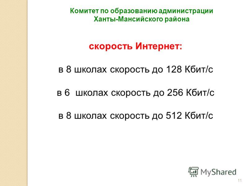 11 Комитет по образованию администрации Ханты-Мансийского района скорость Интернет: в 8 школах скорость до 128 Кбит/с в 6 школах скорость до 256 Кбит/с в 8 школах скорость до 512 Кбит/с