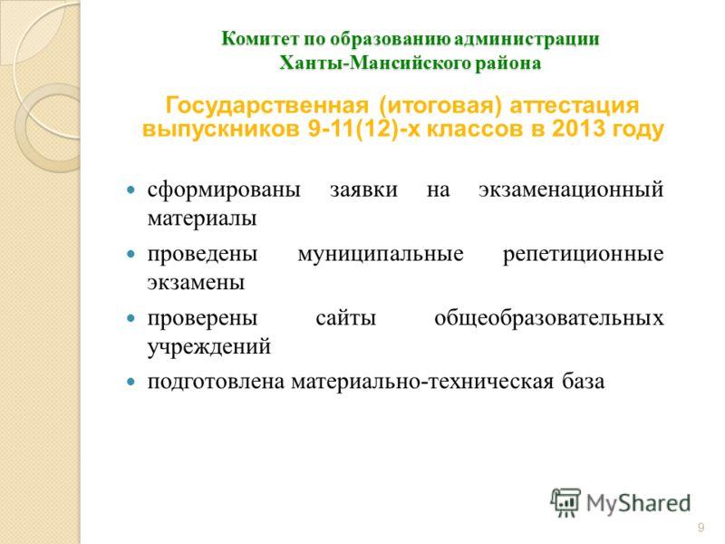 Комитет по образованию администрации Ханты-Мансийского района сформированы заявки на экзаменационный материалы проведены муниципальные репетиционные экзамены проверены сайты общеобразовательных учреждений подготовлена материально-техническая база 9 Г