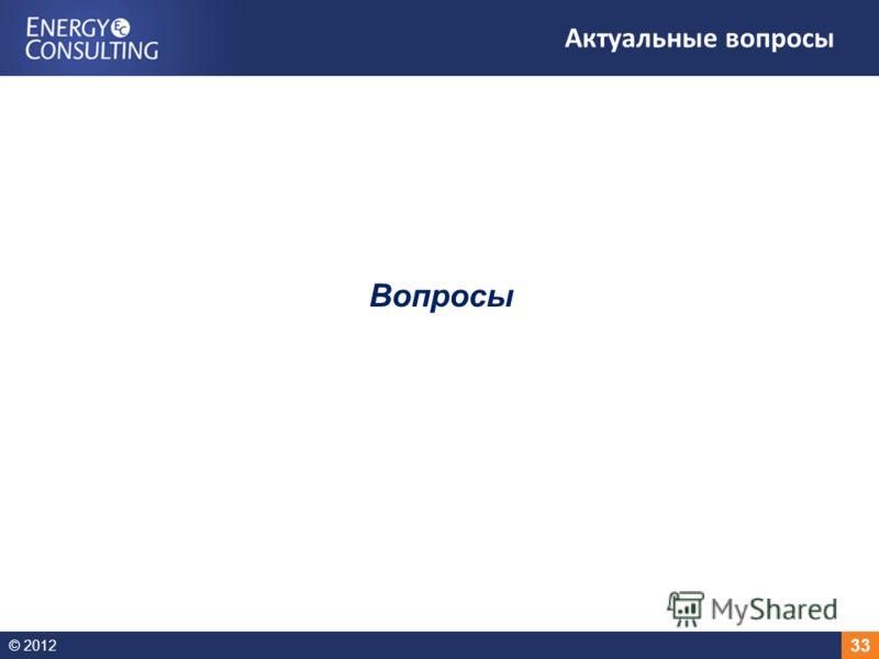 © 2012 33 Актуальные вопросы Вопросы