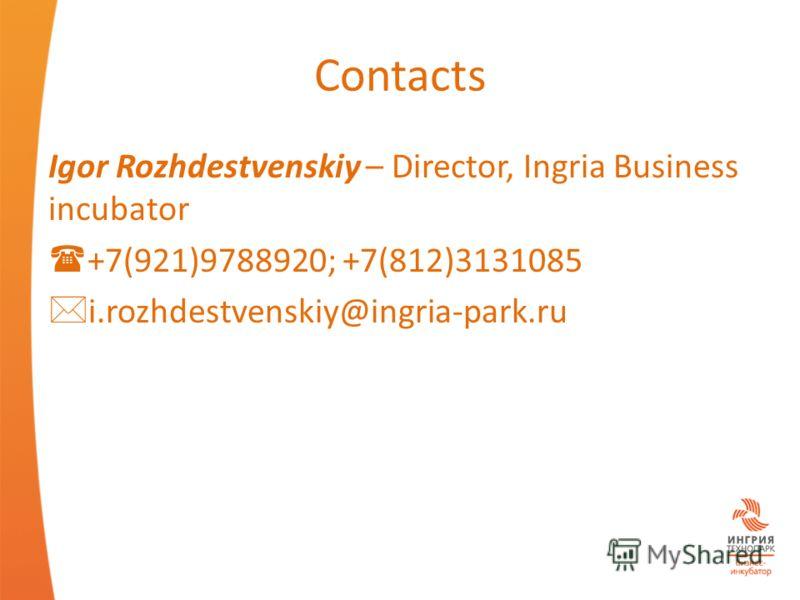 Contacts Igor Rozhdestvenskiy – Director, Ingria Business incubator +7(921)9788920; +7(812)3131085 i.rozhdestvenskiy@ingria-park.ru