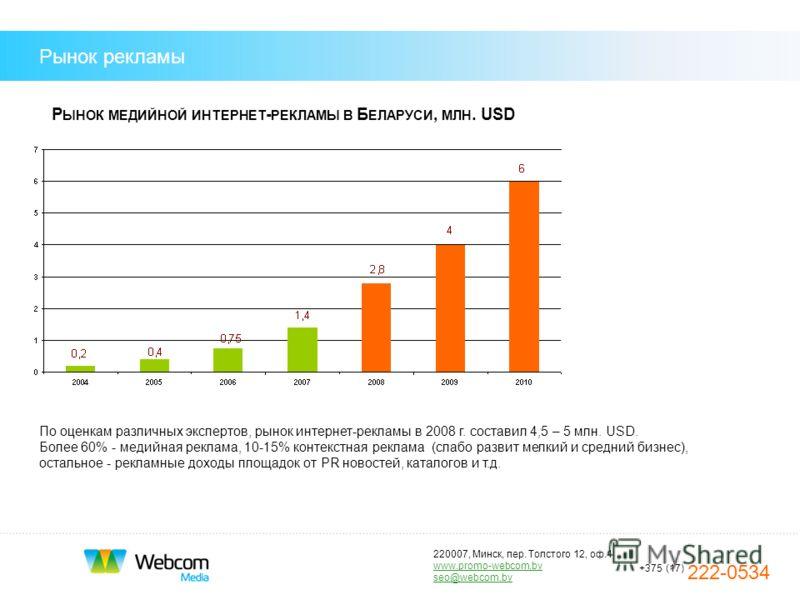 220007, Минск, пер. Толстого 12, оф.1 www.promo-webcom.by seo@webcom.by +375 (17) 222-0534 Рынок рекламы Р ЫНОК МЕДИЙНОЙ ИНТЕРНЕТ - РЕКЛАМЫ В Б ЕЛАРУСИ, МЛН. USD По оценкам различных экспертов, рынок интернет-рекламы в 2008 г. составил 4,5 – 5 млн. U