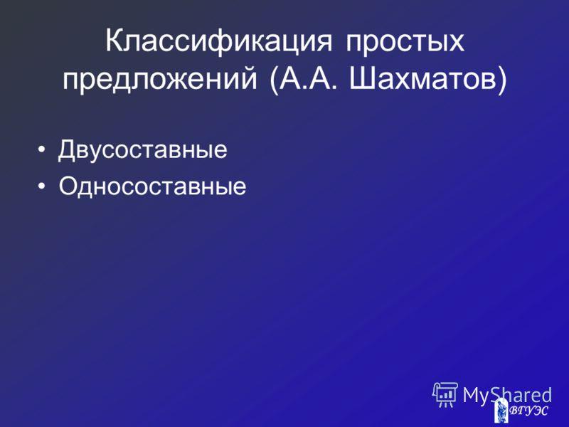 Классификация простых предложений (А.А. Шахматов) Двусоставные Односоставные