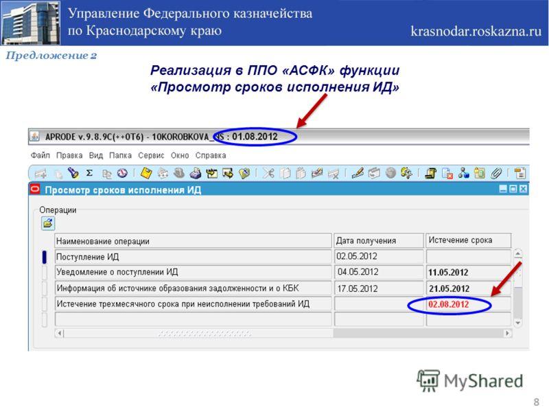 Предложение 2 Реализация в ППО «АСФК» функции «Просмотр сроков исполнения ИД» 8