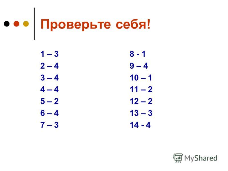 Проверьте себя! 1 – 3 2 – 4 3 – 4 4 – 4 5 – 2 6 – 4 7 – 3 8 - 1 9 – 4 10 – 1 11 – 2 12 – 2 13 – 3 14 - 4
