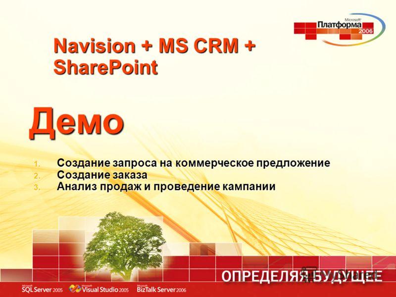 Navision + MS CRM + SharePoint Демо 1. Создание запроса на коммерческое предложение 2. Создание заказа 3. Анализ продаж и проведение кампании