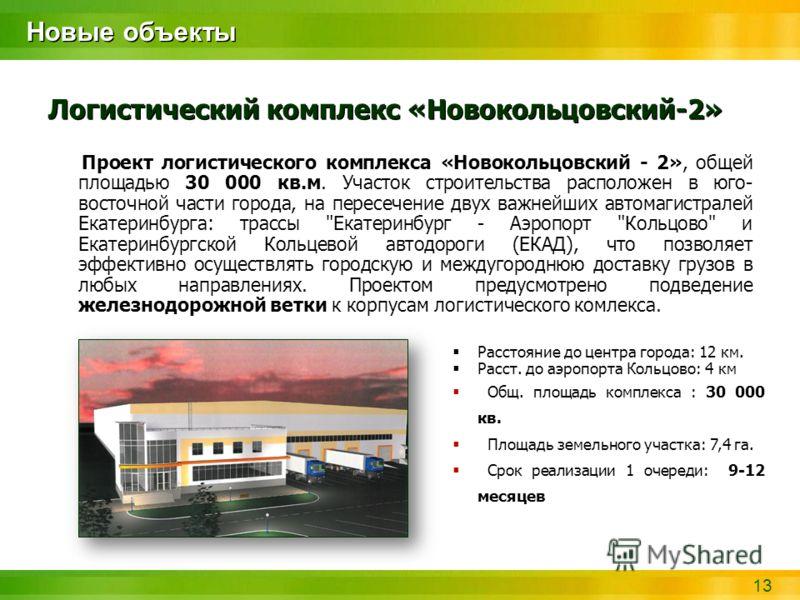 13 Новые объекты Логистический комплекс «Новокольцовский-2» Проект логистического комплекса «Новокольцовский - 2», общей площадью 30 000 кв.м. Участок строительства расположен в юго- восточной части города, на пересечение двух важнейших автомагистрал