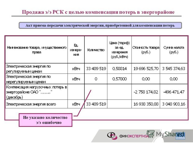 6 Продажа э/э РСК с целью компенсации потерь в энергорайоне Акт приема-передачи электрической энергии, приобретенной для компенсации потерь Не указано количество э/э ошибочно