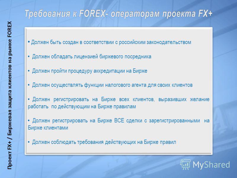 Должен быть создан в соответствии с российским законодательством Должен обладать лицензией биржевого посредника Должен пройти процедуру аккредитации на Бирже Должен осуществлять функции налогового агента для своих клиентов Должен регистрировать на Би