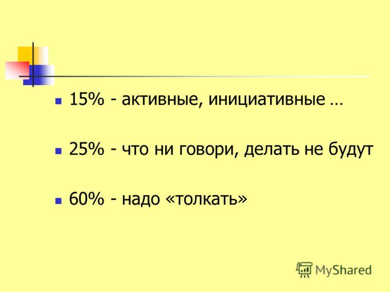 15% - активные, инициативные … 25% - что ни говори, делать не будут 60% - надо «толкать»