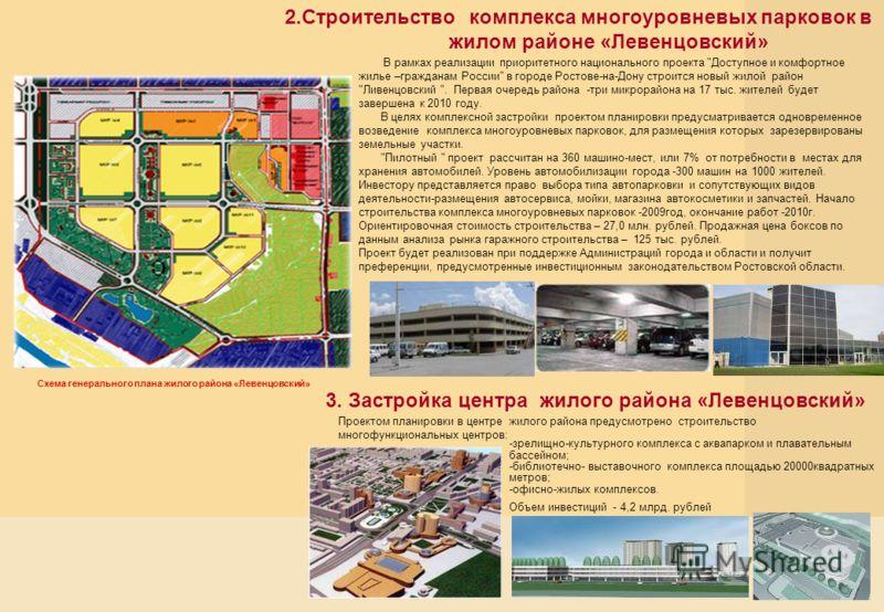 2.Строительство комплекса многоуровневых парковок в жилом районе «Левенцовский» В рамках реализации приоритетного национального проекта