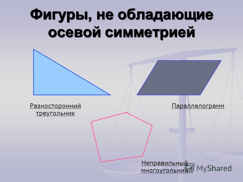 Фигуры, не обладающие осевой симметрией Разносторонний треугольник Параллелограмм Неправильный многоугольник