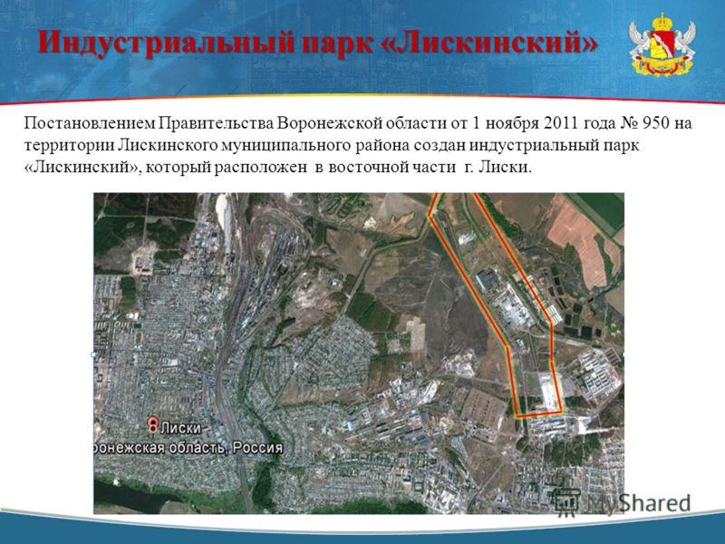 Постановлением Правительства Воронежской области от 1 ноября 2011 года 950 на территории Лискинского муниципального района создан индустриальный парк «Лискинский», который расположен в восточной части г. Лиски. Индустриальный парк «Лискинский»