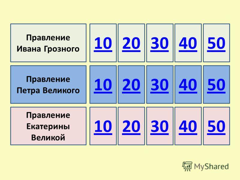 Правление Ивана Грозного Правление Петра Великого Правление Екатерины Великой 10 50403020 304050 20304050