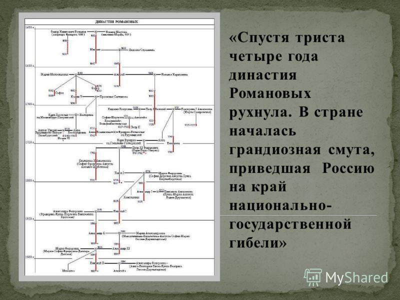 «Спустя триста четыре года династия Романовых рухнула. В стране началась грандиозная смута, приведшая Россию на край национально- государственной гибели»