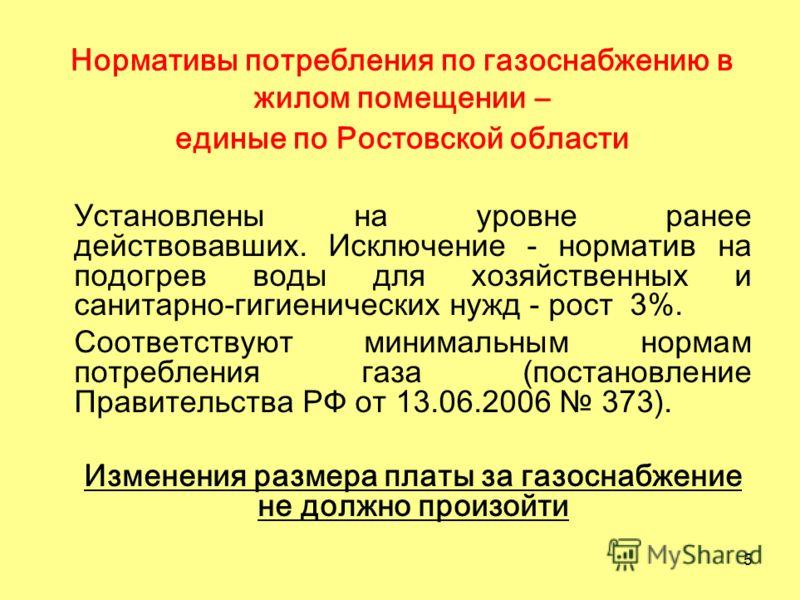 5 Нормативы потребления по газоснабжению в жилом помещении – единые по Ростовской области Установлены на уровне ранее действовавших. Исключение - норматив на подогрев воды для хозяйственных и санитарно-гигиенических нужд - рост 3%. Соответствуют мини