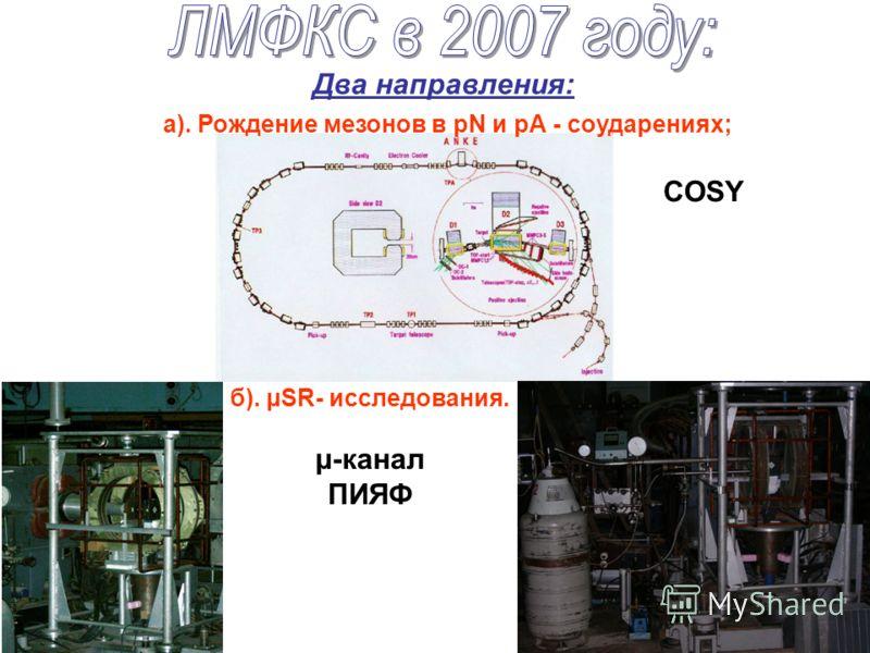 Два направления: б). µSR- исследования. а). Рождение мезонов в рN и рА - соударениях; COSY μ-канал ПИЯФ
