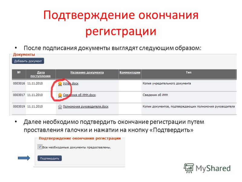 Подтверждение окончания регистрации После подписания документы выглядят следующим образом: Далее необходимо подтвердить окончание регистрации путем проставления галочки и нажатии на кнопку «Подтвердить»