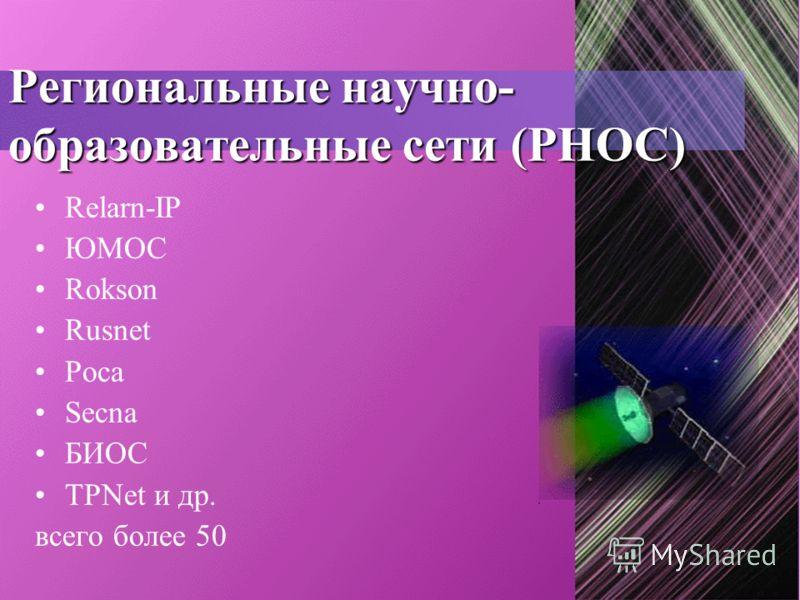 Региональные научно- образовательные сети (РНОС) Relarn-IP ЮМОС Rokson Rusnet Роса Secna БИОС TPNet и др. всего более 50