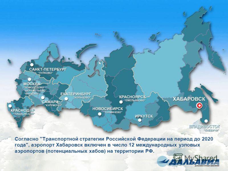 Согласно Транспортной стратегии Российской Федерации на период до 2020 года, аэропорт Хабаровск включен в число 12 международных узловых аэропортов (потенциальных хабов) на территории РФ.