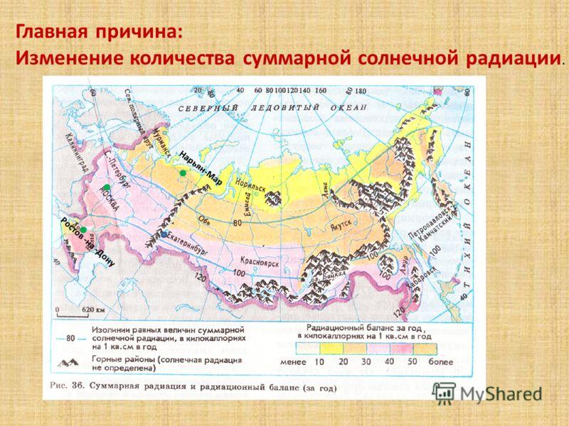 Главная причина: Изменение количества суммарной солнечной радиации. Нарьян-Мар Ростов -на -Дону