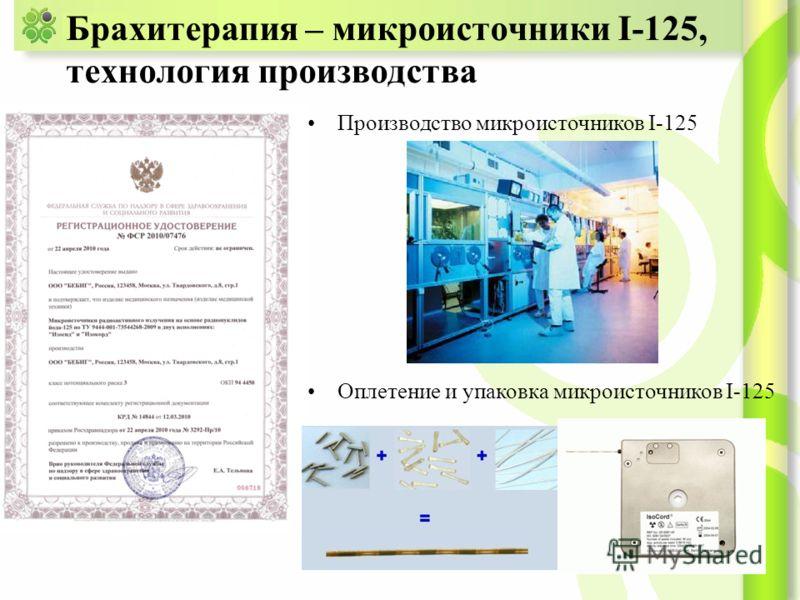 Брахитерапия – микроисточники I-125, технология производства Производство микроисточников I-125 Оплетение и упаковка микроисточников I-125