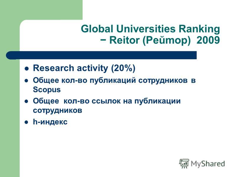 Global Universities Ranking Reitor (Реŭmор) 2009 Research activity (20%) Общее кол-во публикаций сотрудников в Scopus Общее кол-во ссылок на публикации сотрудников h-индекс