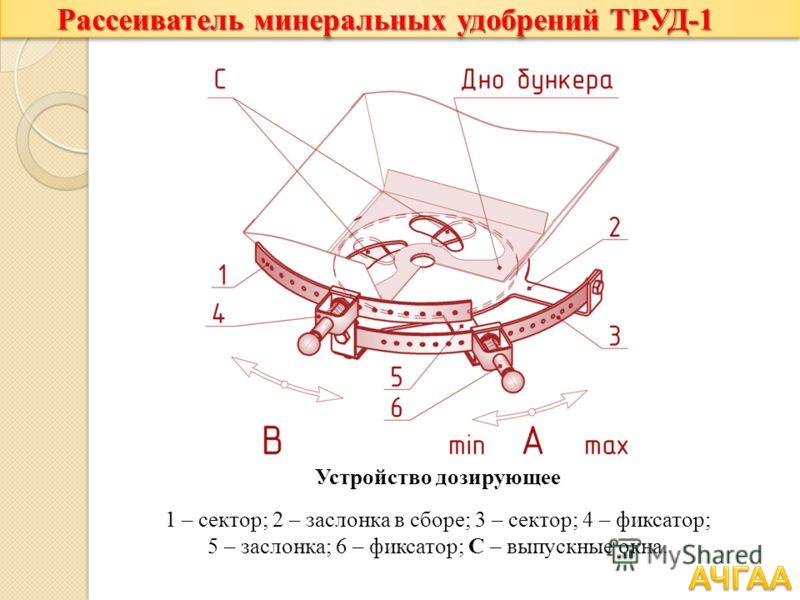 Рассеиватель минеральных удобрений ТРУД-1 Устройство дозирующее 1 – сектор; 2 – заслонка в сборе; 3 – сектор; 4 – фиксатор; 5 – заслонка; 6 – фиксатор; С – выпускные окна.