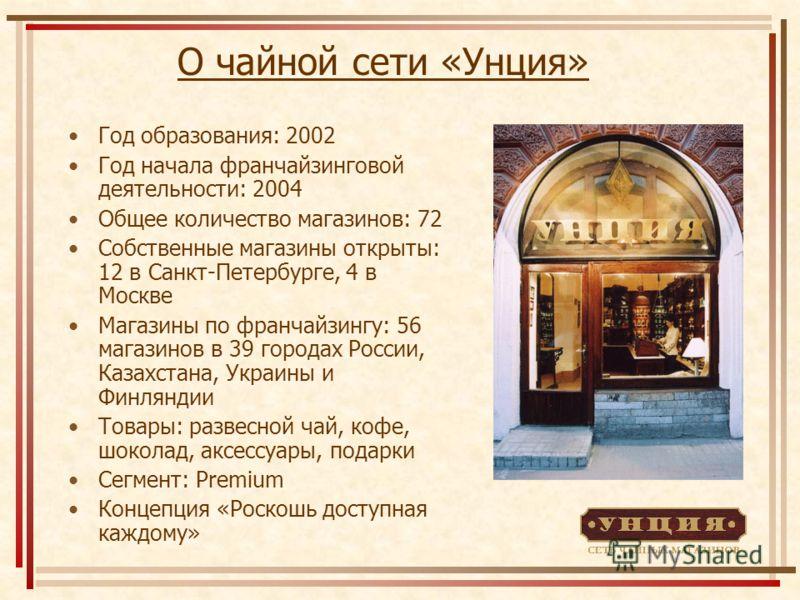 О чайной сети «Унция» Год образования: 2002 Год начала франчайзинговой деятельности: 2004 Общее количество магазинов: 72 Собственные магазины открыты: 12 в Санкт-Петербурге, 4 в Москве Магазины по франчайзингу: 56 магазинов в 39 городах России, Казах