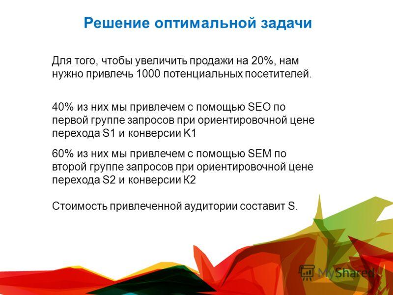 Решение оптимальной задачи Для того, чтобы увеличить продажи на 20%, нам нужно привлечь 1000 потенциальных посетителей. 40% из них мы привлечем с помощью SEO по первой группе запросов при ориентировочной цене перехода S1 и конверсии K1 60% из них мы
