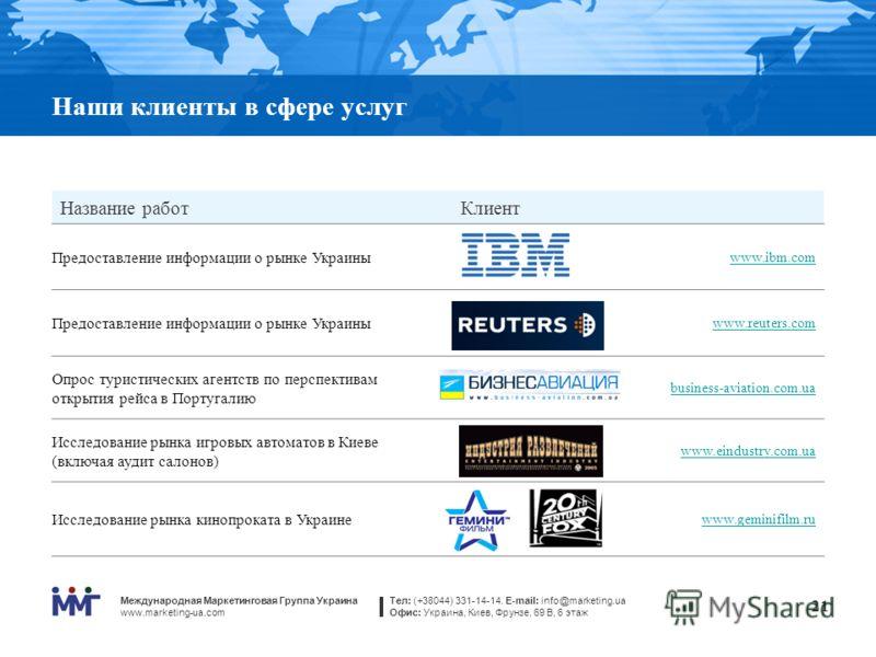 Международная Маркетинговая Группа Украина www.marketing-ua.com Тел: (+38044) 331-14-14. E-mail: info@marketing.ua Офис: Украина, Киев, Фрунзе, 69 В, 6 этаж 21 Наши клиенты в сфере услуг Название работКлиент Предоставление информации о рынке Украины