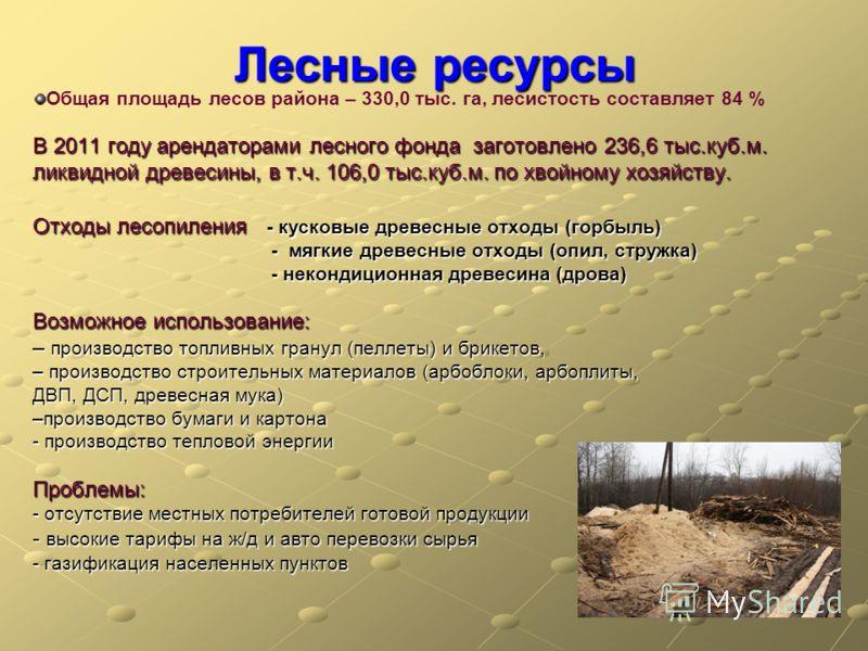 Лесные ресурсы Общая площадь лесов района – 330,0 тыс. га, лесистость составляет 84 % В 2011 году арендаторами лесного фонда заготовлено 236,6 тыс.куб.м. ликвидной древесины, в т.ч. 106,0 тыс.куб.м. по хвойному хозяйству. Отходы лесопиления - кусковы
