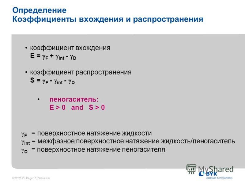 6/27/2013, Page 15, Defoamer Определение Коэффициенты вхождения и распространения коэффициент вхождения E = F + int - D коэффициент распространения S = F - int - D пеногаситель: E > 0 and S > 0 F = поверхностное натяжение жидкости int = межфазное пов